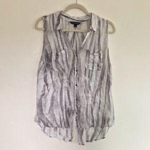 Rock & Republic Gray & Cream Button Down Shirt L